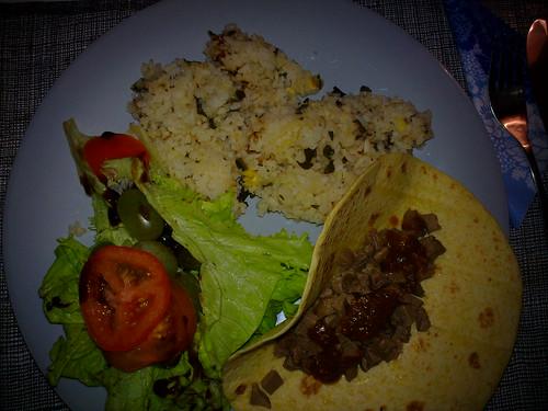 Salad, rice, reindeer tongue taco
