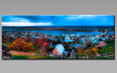 Rough Pastels (a2roland) Tags: trees lighthouse color tower fall beach leaves wall photoshop landscape lights bay sketch highlands nikon scenery media paint flickr hand branches sandy curves north twin scene atlantic norman canvas foliage frame pastels hanging rough hook drawn tones hdr zeb lightroom navesink daubs photomatix a2roland a2rolandyahoocom