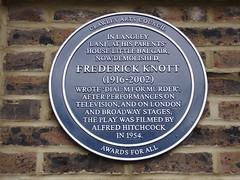 Photo of Frederick Knott blue plaque