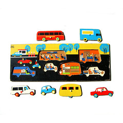 Vintage wooden transport puzzle (Wooden donkey) Tags: car toy ambulance caravan childvintage