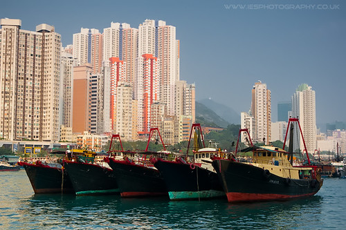 Boats and Flats in Aberdeen Harbour Hong Kong