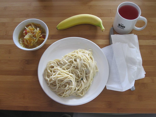Cabbage soup, spaghetti with bleu cheese sauce, banana, lemonade - $6 from the bistro