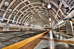 Seattle Space Station (Surrealize) Tags: seattle orange white bus public lines station metal architecture bronze underground subway washington starwars nikon downtown track ship floor angle artistic metro steel space tube wide perspective rail tunnel transit copper scifi marble launch mass bumps subterranean hdr futuristic pioneersquare deathstar intergalactic spaceage airduct 14mm linklightrail d700 centrallink