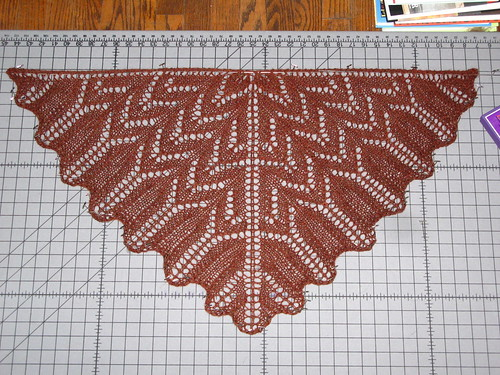 Lima Shawlette- blocking