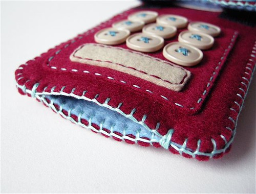Touch-Tone iPhone case (cranberry/sky blue) by hine.