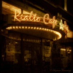 Rialto Cafe (SLEEC Photos/Suzanne) Tags: urban texture sign lights restaurant cafe colorado downtown neon action denver nighttime textured sincity gaussianblur ourtime platinumphoto memoriesbook goldstaraward pioneerwomanactions softfaded dragondaggerphoto dragondaggeraward miasbest daarklands magicunicornverybest florabellafinearttextures trolledproud imagofabulae flypapertextures