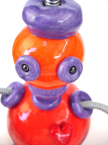 Orange Oswald Robot Sculpture