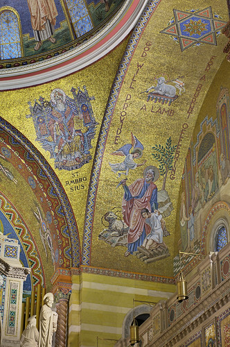Cathedral Basilica of Saint Louis, in Saint Louis, Missouri, USA - mosaics in east sanctuary arch