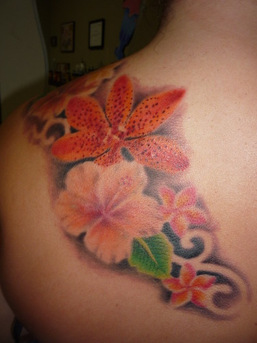 Flower tattoo, Hibiscus Tattoo, Plumeria tattoo, by Lucky Bamboo Tattoo