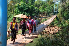 suspension bridge outside Salavan (aquanica) Tags: laos suspensionbridge motobike bolaven salavan