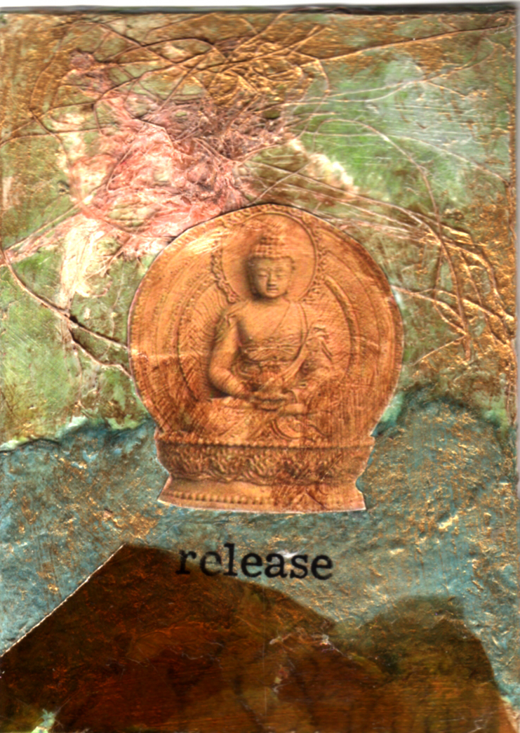 mixed media ATC buddha by artist and retreat leader Bronwyn Simons