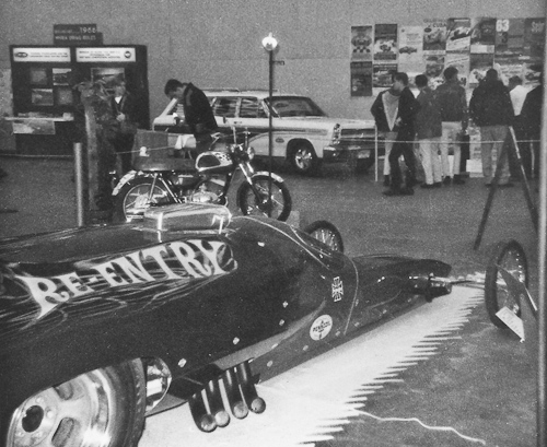 The radical Re-Entry dragster attempted to mix streamlining with a rear-engine design