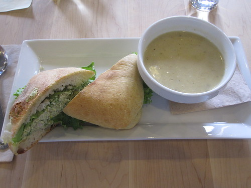 Chicken sandwich, leek and potato soup from SoupeSoupe - $15.33 with tip