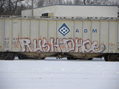 rush - ohde (H.R. Paperstacks) Tags: streetart art minnesota graffiti paint steel painted graf stpaul minneapolis mpls rush tc spraypaint twincities graff aerosol mn d30 tko stp freights spraypainted ohde benching