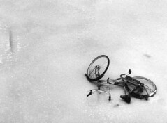 Fiets / Bicycle: Saved by the cold! (parnas) Tags: leica winter holland film ice blackwhite zwartwit bicycles groningen fiets ijs bruggroningermuseum