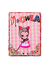 Meowla (boopsie.daisy) Tags: pink cute art girl atc cat kitten doll sweet ooak gingham aceo boopsiedaisy