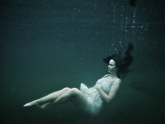 Serene (LalliSig) Tags: blue portrait people woman white black green water iceland underwater gray floating pregnant portraiture seljavallalaug materinity