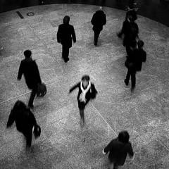 Contresens / Wrong way (philoufr) Tags: blackandwhite motion blur paris subway square noiretblanc métro corridor couloir flou mouvement ratp garesaintlazare explored carréfrançais canonpowershots90