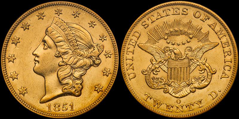 1851-O $20.00 PCGS AU58 CAC