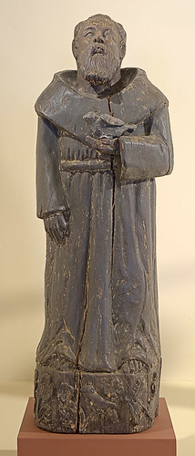 "Statue, polychrome and gesso on hardwood, ""St. Francis of Assisi"" by unknown Santos carver, Philippines, at the Pere Marquette Gallery of the Saint Louis University Museum of Art, in Saint Louis, Missouri, USA"