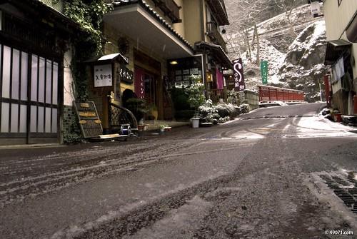 現在の四万温泉 雪 #shimaonsen
