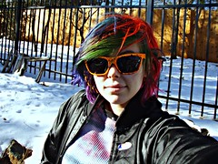 Me in the snow (Megan is me...) Tags: blue red portrait orange snow color green colors smile fashion rose yellow self hair effects photography one diy clothing crazy rainbow eyes colorful neon pretty colours russell bright unique awesome meg violet plum megan style nuclear special clothes kind fishbowl iguana jerome colored mayhem punky striped bleached dyed napalm sfx rosered megface meganisme bleachednapalmorange