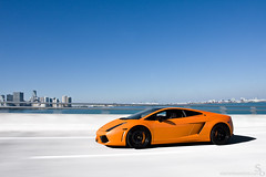 Key Biscayne (Stephan Bauer) Tags: city bridge orange black color car canon photography key driving miami vice fast exotic bauer panning stephan lamborghini supercar rolling gallardo biscayne lambo lp560
