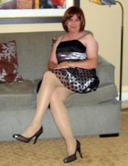 more leg than normal (krislagreen) Tags: cd hose tgirl transvestite heels crossdresser crossdress tg minidress cocktaildress xdresser
