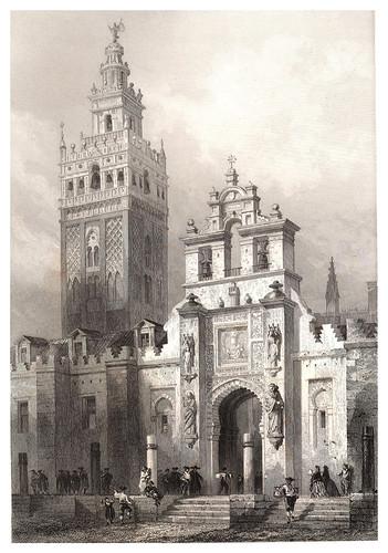 028-Torre de la Giralda-Puerta del Perdon-Voyage pittoresque en Espagne et en Portugal 1852- Emile Bégin
