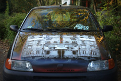 RUNTOLINE'S CAR (orticanoodles) Tags: paris canvas noodles pochoir soloshow orticanoodles stenciloncanvas stencilhistoryx galerieitinerrance stencilexibithion