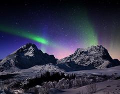Aurora Borealis (steinliland) Tags: winter snow mountains reflexions auroraborealis nordlys mywinners platinumphoto nothernlight panoramafotográfico yourwonderland steinlilandlofotenislands