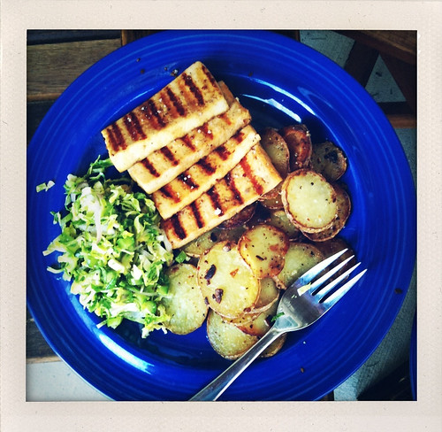 Maple Bourbon Marinated Tofu with Garlic Pan-Fried Potatoes & Brussels Sprout Slaw