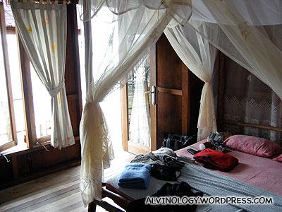 The interior of the Yasin hut