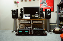 My Sound System (JOLEYE) Tags: leica family classic film digital 35mm hongkong 50mm office lab f1 summicron sound speaker noctilux f2 portra jm m6 hifi asph mcintosh version2 160nc preamp macbook convertor mlens