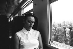 genoa to portofino by rail (gorbot.) Tags: portrait blackandwhite train rail genoa genova portofino roberta lightroom f19 rangefindercamera mmount leicam8 voigtlander28mmultronf19 vscofilm
