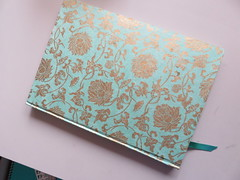 300x220mm case bound with ribbon (Kalmagic !) Tags: hand made handmade bookbinding turquoise case bound