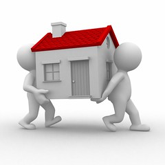 TDS on sale or purchase of immovable property (legalraasta12) Tags: 3d humorous abstract people human white grey house home move real estate relocate remove building door roof chimney solution success floor heavy difficult push problem carriage back red
