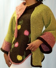 Pixie Sweater, Pink and Green (brendaabdullah) Tags: wool women colorful warm recycled handmade oneofakind indie jumper wearableart etsy remake ecofriendly reconstructed recycledclothing upcycled machinepieced diyfashion indiefashion restyled reclaimedsweaters brendaabdullah ecoconsious