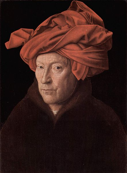 Jan van Eyck, 1433, generally regarded as a self-portrait, which would make it the earliest Western panel portrait after antiquity.