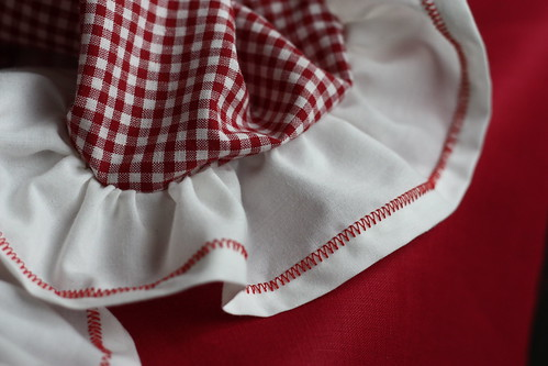 ruffles with red zigzagged stitch