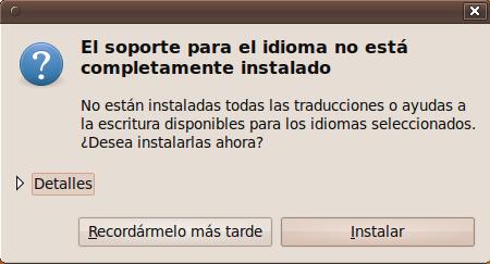 Instalar soporte de idioma Ubuntu