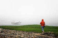 Fog With A Bit Of Color (Philipp Klinger Photography) Tags: ocean new trip travel sea vacation england orange woman usa color colour g