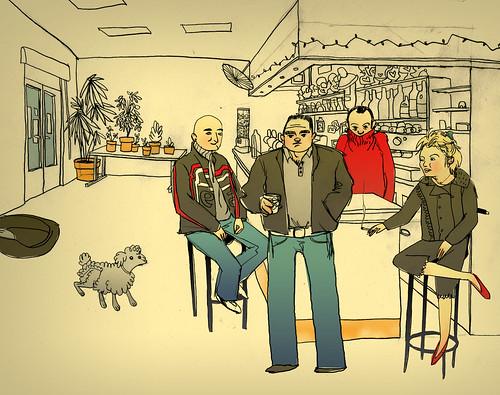 au coin de la rue Delbos, cigarettes, mousses et chaleur humaine. Illustrations de Célia Rivière.