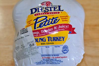 Diesel turkey in package, Bell and Evans chicken, Thanksgiving, compound butter