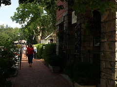Old Edwards Inn and Spa (Main Street Entrance) - Highlands, North Carolina, USA (olympusjgreen) Tags: mountains brick stone nc highlands cafe inn village getaway northcarolina sidewalk evergreen shade shops spa wnc
