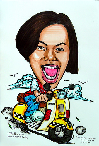 lady caricature on vespa