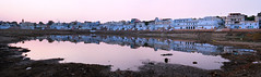 India #21: panorama (zane&inzane) Tags: travel pink blue houses sunset panorama india lake colour building film digital landscape photography twilight nikon pano voigtlander magenta panoramic scan photomerge pushkar fm3a merge rajasthan 40f2 40f2slii