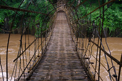 Bamboo bridge to Pa Suam waterfall (Bn) Tags: topf50 footbridge laos route20 walkbridge southernlaos bamboobridge 50faves bolavenplateau salavanprovince pasuamwaterfall