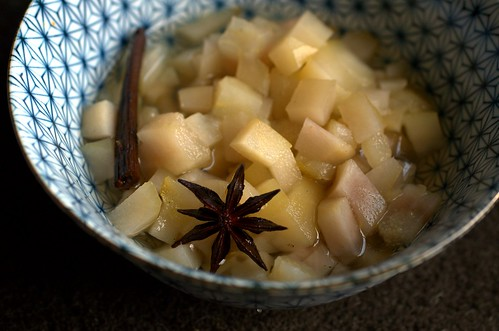 poached pear compote in vanilla bean & star anise