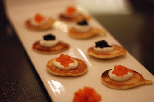 Blinis, Caviar, Transmontanus Caviar trout roe and Salmon roe
